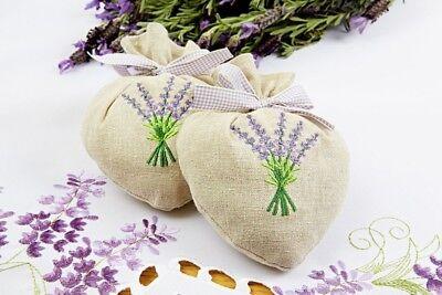 2 Duftsäckchen Lavendel Blüten Herzform Kleiderschrank Duft Kissen Schrankduft