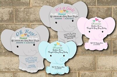 Elephant Baby Shower Invitations Theme Cards Die Cut Boy Girl Jungle Baby Shower - Elephant Baby Shower Theme Boy