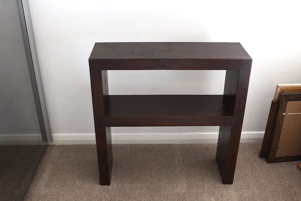 Solid Wood Chunky Heavy Shelf Side Table Width 24inch X Depth 7 5inch Height