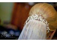 Beautiful Vintage Wedding Bridal Hair Comb Ivory & Co Silver, Pearl & Crystal Crescent Comb / Tiara