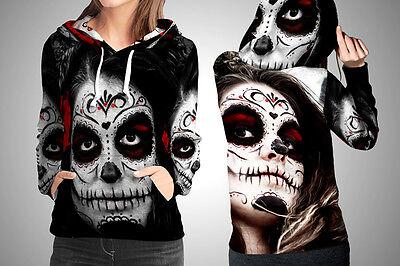 New Sugar Skull Makeup Image Fullprinted Women Fullover Hoodie S-3XL