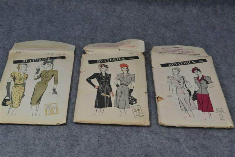 pattern WWII 3 pc lot Butterick dress suit  factory fold vg antique 1940