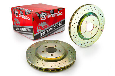 Genuine Brembo Sport Discs, Drilled Brake Rotors (33S50211) - Front Axle -