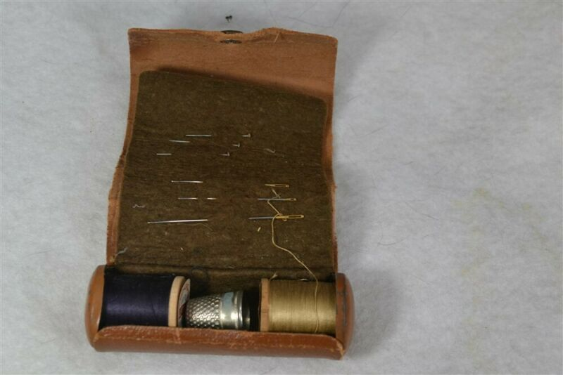antique sewing roll up case box wooden spools needles thimble vintage 1920