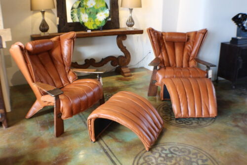 """Set Of Two 41"""" W Leather Chair Ottoman Italian Light Brown Leather Exotic Wood"""