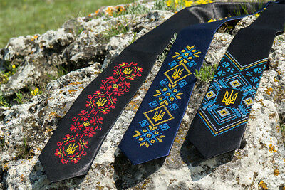 Ukrainian High Quality Mens Ties Embroidered Tryzub Trident Vyshyvanka Neck - Embroidered Necktie
