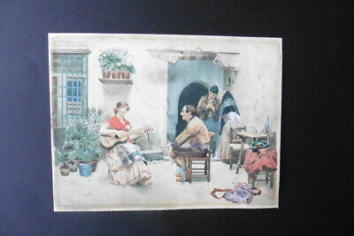 FRENCH SCHOOL 19thC - TEMPTED BY MUSIC - FINE WATERCOLOR BY JULES WORMS