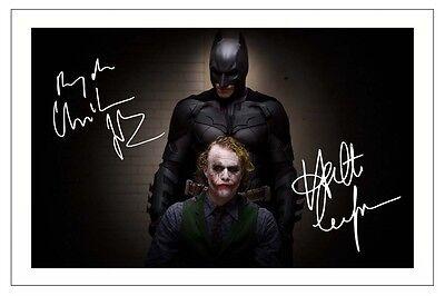 CHRISTIAN BALE & HEATH LEDGER BATMAN THE DARK KNIGHT SIGNED PHOTO PRINT