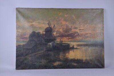 v3e37- Holländische Landschaft mit Windmühle, Ölgemälde, 19.Jh.