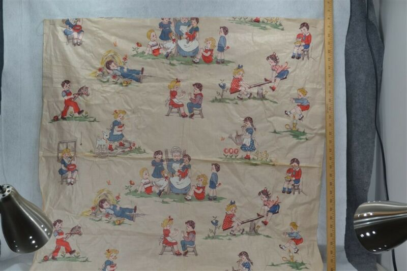 fabric chintz nursery rhyme children antique vintage new old 1940