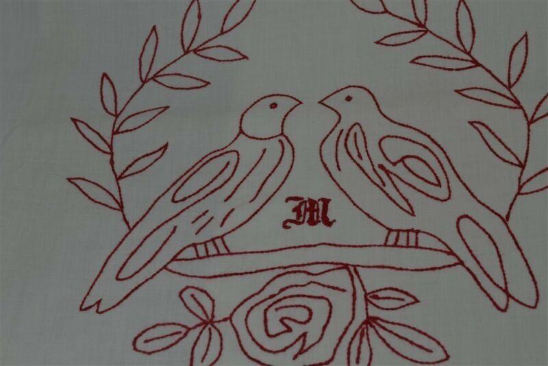 old red work pillow bed shams pair monogram M doves cotton original 1880