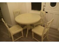White Solid Vintage Dining Table and Four Chairs