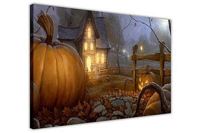 PUMPKIN FARM HALLOWEEN DECORATION CANVAS WALL ART PRINTS KIDS PICTURES POSTERS - Halloween Art Kids