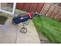 Full set of Howson golf clubs with bag and trolley