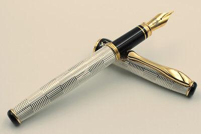 Silver 925 Wickerwork Pen Extra Fine Nib Blue Ink Waterman Cartridges Handmade