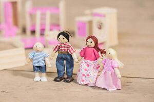 Per bambini di legno casa delle bambole famiglia statuine - Casa di legno per bambini ...