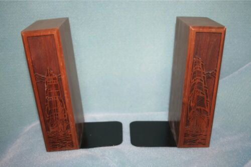 LaserCraft Carved Wooden Ships Set of 2 Book Ends Bookends Laser Craft Book Ends