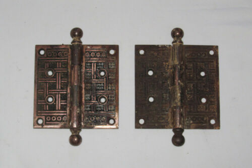 """2 Antique Salvage Eastlake Door Hinges Iron Cannon Ball Pins 4""""x4"""""""