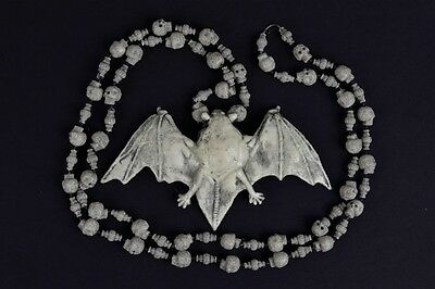 Bats & Skulls Necklace, Caveman, Halloween Accessory (Caveman Halloween)