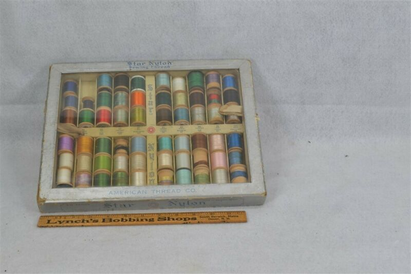 "antique Sewing Thread store counter top display box w/thread wood spools ""Star"""