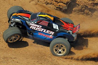 Traxxas #44096-3 1/10 Nitro Rustler 2WD Stadium Truck TSM RTR FREE SHIRT & CAP ()