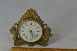 clock brass cherubs wind table top Globe hands move Victorian Germany antique