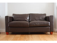 Quality Brown Genuine Leather Comfortable Two Seater Sofa Good Condition