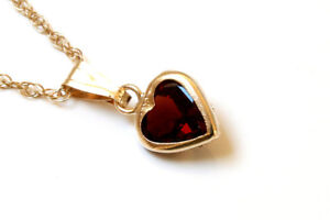 9ct Gold Garnet Heart Pendant Necklace and chain Made in UK Gift Boxed