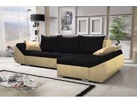 "Corner sofa bed sofa bed UK STOCK 1-5 DAY DELIVERY""Lugano""Dark Brown"