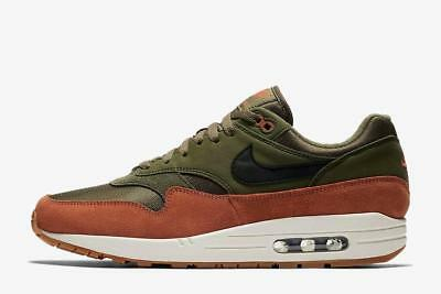 NIKE AIR MAX 1 AH8145 301 OLIVE CANVAS GREEN/BLACK/WHITE/DARK RUSSET -