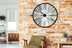 Rustic Metal Mirror Iron Wall Clock 27.6'' Diameter Room Home Art Decorations
