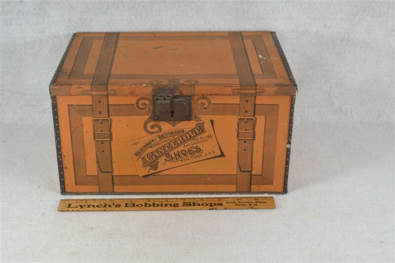 antique box advertising store display tin trunk suitcase painted original 1800