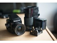 Medium Format Mamiya 645 Pro Tl + 35mm lens + 210mm lens + 2 film backs + camera bag - used for sale