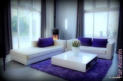 FUR ACCENTS Purple Shag Faux Fur Area Rug Luxury Faux Fur Rectangle 5' x 8' ()