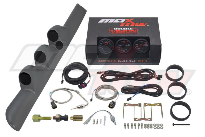 MaxTow Boost EGT Trans Temp Gauges + Gray Triple Pod for 98-02 Dodge Ram Cummins