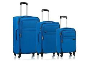 NEW Champs 'Brooklyn Collection' 3-Piece Expandable SOFTSIDE Spinner Luggage Set Colour: Blue Condition: New