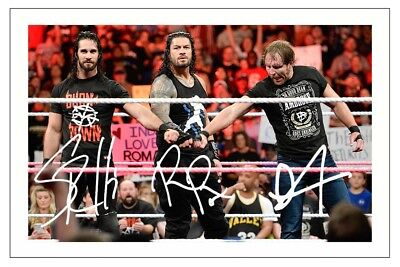 SETH ROLLINS ROMAN REIGNS & DEAN AMBROSE WWE SIGNED PHOTO PRINT THE SHIELD