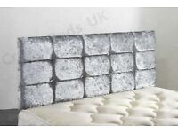 ***STUNNING DIAMOND DESIGN HEADBOARD 26 Inches; CRUSHED VELVET DIAMANTE 4FT6***