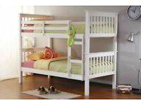 BRAND NEW NOVARO WHITE 3FT SINGLE / 4FT6 DOUBLE SOLID PINE WOOD BUNK BED FRAME & CHOICE OF MATTRESS