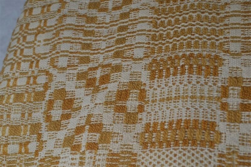 coverlet linen wool gold large 96 x 110 hand made early antique 1850 original