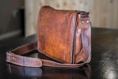 New Mens Vintage Brown Leather Full Flap Messenger Laptop Satchel Shoulder Bag