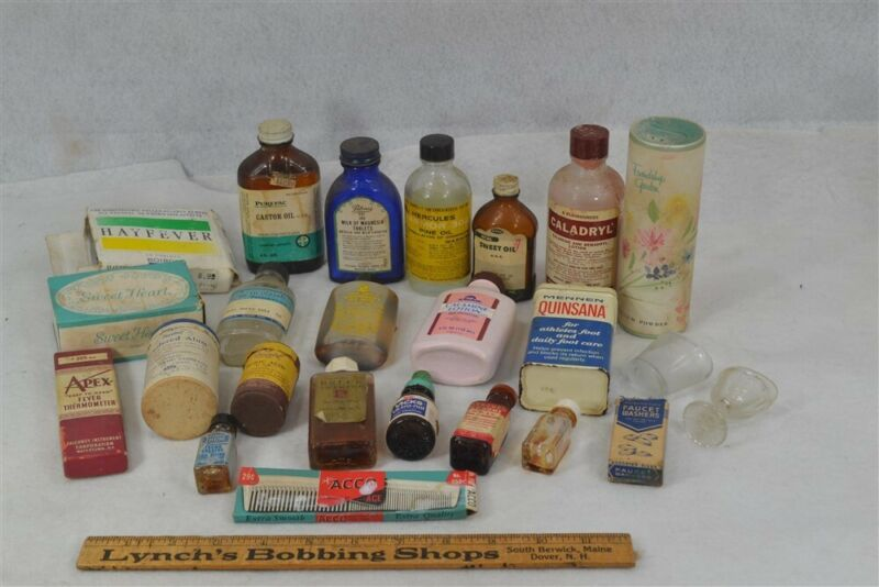 old pharmacy drug store medicine lot advertising bottles boxes original