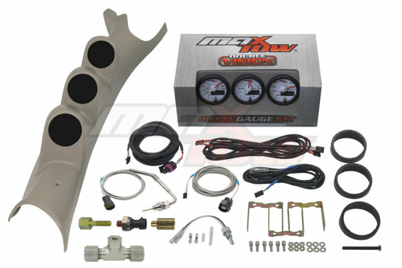 White MaxTow Boost EGT Trans Temp Gauges + Taupe Pod for 03-09 Dodge Ram Cummins