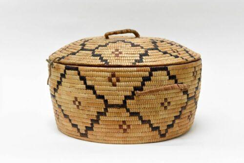 Antique Salish Thompson River Covered Indian Basket