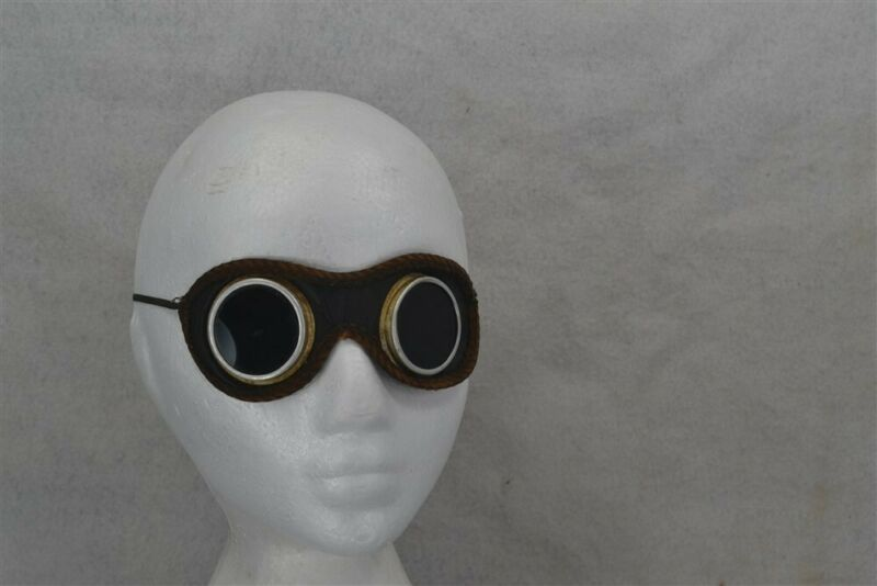 antique goggles motocycle aviator leather green glass Vintage steampunk 1920