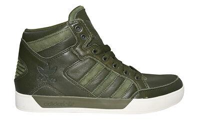 Herren Adidas Hardcourt Hi Wachs Handarbeit - BB6783 - Grün Weiße Sportschuhe (Adidas Schuhe Arbeit)