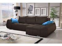 Corner sofa bed sofa bed UK STOCK 1-5 DAY DELIVERY Lugano Dark Grey