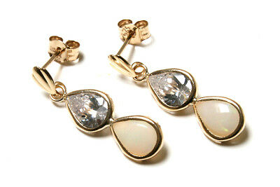 9ct Gold Opal and CZ Teardrop Earrings Made in UK Gift Boxed