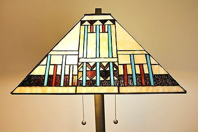 Tiffany Style Stained Glass Blue Mission Floor Lamp Handcrafted 16