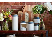 Ceramic White and Grey Airtight Storage Jar with acacia wood lid (Jamie Oliver brand)